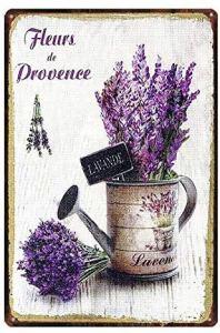 Plaque Vintage en métal pour décoration Murale de Jardin, Fleurs de Provence Lavande, Maison, Bar, Cuisine, Jardin, 30,5 x 20,3 cm