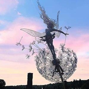 PLIENG Fées Et Pissenlits Dansent Ensemble – Fée Jardin Métal Cour Art Déco Fée Sculptures Danse avec Pissenlits Vent Catcher Cour Patio Décoration,A