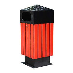 Poubelle extérieure Les ordures en panneaux en bois en acier peuvent orner des ordures en panneaux encastrés en plein air peuvent créer une corbeille de déchets commerciaux à baril unique for l'école