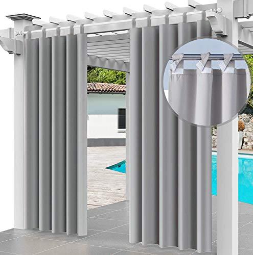 Rideau Extérieur Imperméable 2X 220 x 155 cm Coupe-Vent Protection UV Rideau pour Facade Avant de Pergola Cabana pour Jardin Patio (2 Panneaux) Gris [129]