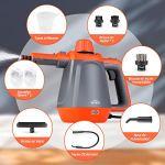 SIMBR Nettoyeur Vapeur à Main, Nettoyeur Vapeur 1200W Multifonctionnel avec 9 Accessoires, Réservoir d'eau de 450 ML, Câble de 2,87 M, pour Enlever des Taches, Tapis, Cuisine et plus