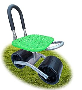 SKYWPOJU Outils de jardin, siège roulant pour le jardinage, siège de jardin à dossier mobile pivotant à 360 °. Chaise de jardin réglable en hauteur. Siège de chariot de jardin pour le désherbage/le ja