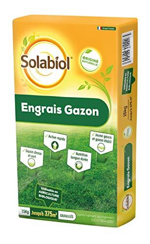 SOLABIOL Engrais gazon organique – Sac de 15 kg pour 375 m² de gazon – Utilisable en Agriculture Biologique