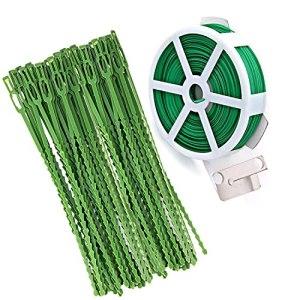 WEEYEE 60 Liens Réutilisables en Plastique + 50 m Fil de Fer Jardinage Plastifie Vert avec Système de Coupage Pratique, Réglable Verte Attaches de Jardin, Ceinture de Reliure pour Plantes de Jardin