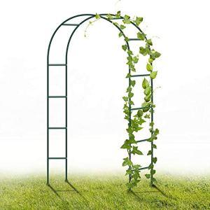 YAOBLUESEA Jardin métal Arche, 2.4M Jardin Archway Poudre Coated Acier Trellis pour Les Plantes grimpantes Roses Soutien Archway Décoration de Jardin (Vert foncé)