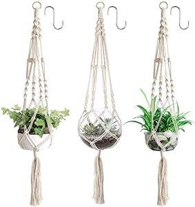 YHmall 3pcs Suspension Plantes Macramé Support Pots Suspendu pour Fleur Décoration Jardin Intérieur Extérieur Style Bohême, Jambes en Corde Coton avec Frange (Charge 10 kg)