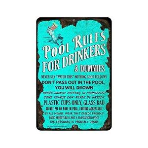 YLWL Abreuvoirs de Piscine Règles de Piscine Panneau d'avertissement Facile à Installer Bleu 20 * 30cm
