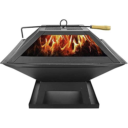 YQZ Foyer carré avec Chauffe-Barbecue, Jardin extérieur Barbecue Noir brasero en métal décor de Patio poêle à Foyer