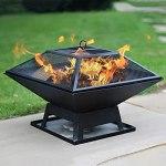 YQZ Foyer carré de Forme de brasero de Gril de BBQ, Bol de feu de Gril de Gril de Barbecue de Camping extérieur portatif brûlant Le Bois