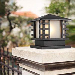 ZSMLB Continental Victoria Lampe Table Verre d'extérieur Creative Industrie Moderne Noir E27 Décoration Lampe Colonne Lampadaire Lampadaire Aluminium Patio Jardin Villa Porte Pilier Lampe Table