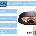ACTIVA Radiateur de plafond KATALANA – 2000 W – Chauffage électrique – Chauffage de terrasse – Chauffage infrarouge – Chauffage à quartz avec télécommande