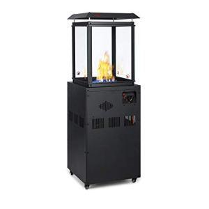 blumfeldt Flagranti – radiateur à gaz,extérieur, 8kW, Bouteilles de gaz 11kg Max, 4 fenêtres en Verre trempé, allumage électrique, Anti-basculement, décor Pierre, INOX – Noir