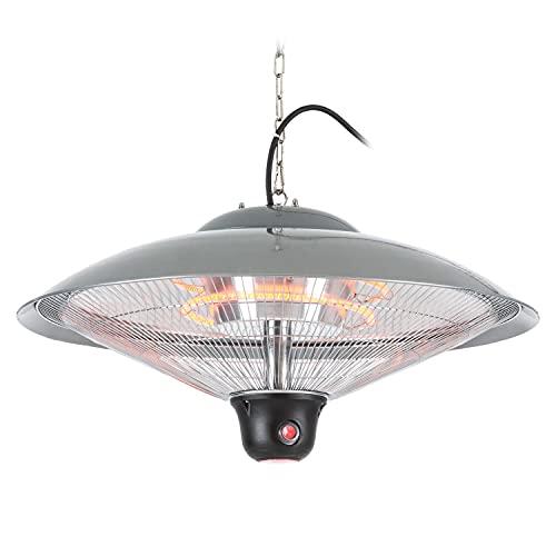blumfeldt Heizsporn – Chauffage de Plafond, pour intérieur et extérieur, 3 Niveaux de Chauffage, Puissance de 2000 W, Réflecteur de 60,5 cm, Éclairage LED – Argent