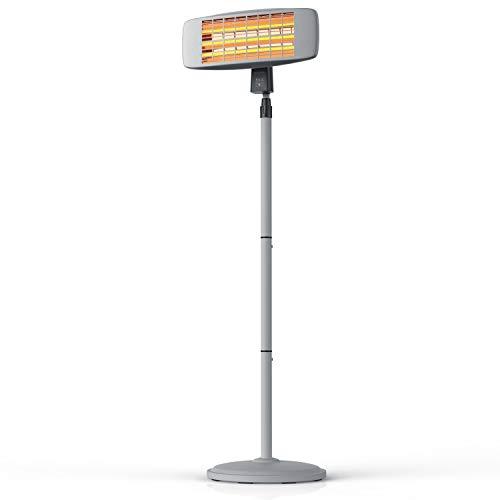Brandson – Chauffage Radiant Exterieur avec télécommande, Chauffage sur Pied électrique 1800w, Hauteur réglable de 120cm à 190cm, 3 puissances, Support Mural – Patio Jardin Balcon terrasse Restaurant