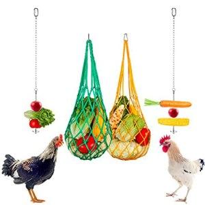 Felenny d'alimentation de Poulet 4 Pcs Suspendus Chargeur Alimentation De Poulet Net Sac en Acier Inoxydable Fourchette de Fruit pour Coq Poule Oiseau