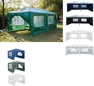 Gazebo de Jardin Chapiteau 3mx6mx2.5m Tente de Jardin Tente de fête extérieure Tube en Acier Fort Chapiteau, Blanc, avec 6 Panneaux latéraux de parois latérales