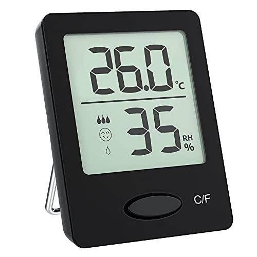 Hygromètre Thermomètres d'intérieur, Moniteur d'Humidité & deTempérature Portable, Mini thermomètre de jardin facile à lire, 3 modes d'installation,Thermo Hygromètre du jardin Maison Bureau Cuisine