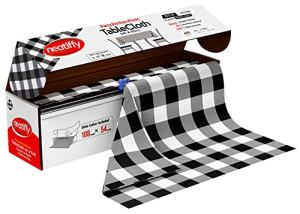 Neatiffy Jetable en Plastique Rouleau De Nappe, Équivalent à 12 Paquets de Pique-Nique, Vichy Noir