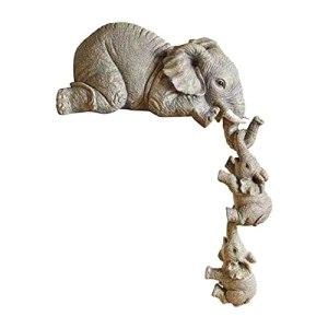 Ornement éléphant, Statue d'éléphant de résine Naturelle, décoration de la Figurine de Jardin, Sculpture d'animaux décoratifs intérieurs et extérieurs, Gris