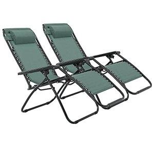 RLSF Paquet de 2 chaises Longues dextérieur Pliantes, inclinables dextérieur avec Appui-tête, Chaise Longue de Loisirs Portable, inclinable pour plages, balcons, pelouses