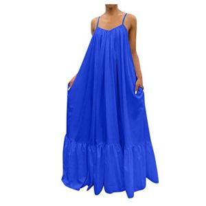 Robe ete Femme,Femmes Loose Backless Big Swing Dress Casual Solid Strap Dress Pocket Full Skirt (Bleu,XL)