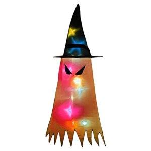 shorecofei SweetWU – Manche à air fantôme avec chapeau et lumière LED à suspendre – Drapeau effrayant pour intérieur ou extérieur – Yeux de démon, orange