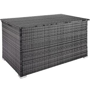 TecTake 800715 Coffre de Jardin de Rangement extérieur 750 L en Résine tressée, Cadre en Aluminium, 145 x 82,5 x 79,5 cm – Plusieurs Coloris – (Gris   no. 403276)