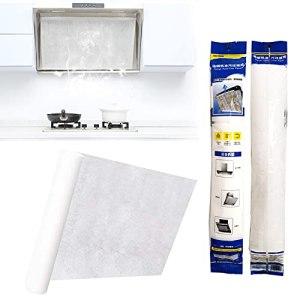 20 m de papier filtre à graisse pour hotte de cuisine, autocollant résistant à la chaleur, respirant, avec bandes adhésives de 40 cm, 16 aimants adhésifs