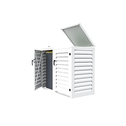Abri poubelle extérieur Double 120L | Modulable en Aluminium pour Jardin et Patio | Dimensions : H. 1150 x L. 1310 x P. 625 mm