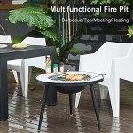BKWJ Table Basse Foyer, Table Foyer Multifonction avec Couvercle Pare-étincelles et Dessus de Table, Chauffage de brasero en marbre pour terrasse de Jardin