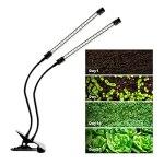CalmGeek Lampe LED à 4 têtes – Spectre complet – Lumière blanche – 4/8/12H – Minuteur 5 niveaux de luminosité – Clip – Lumière de croissance des plantes d'intérieur