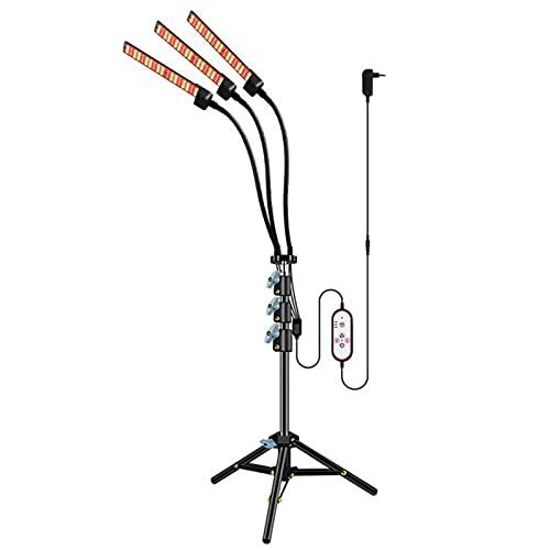 CalmGeek Lampe LED avec trépied réglable pour plantes d'intérieur, arrêt automatique 4/8/12 h, minuterie 3 modes d'éclairage, 5 niveaux de luminosité utilisé pour les semis