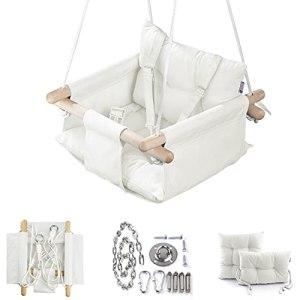 Cateam Balançoire bébé en Toile Ivoire – Chaise pivotante Suspendue en Bois pour bébé avec Ceinture de sécurité et matériel de Montage. Cadeau d'anniversaire de Chaise hamac bébé.