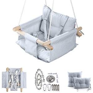 Cateam Balançoire pour bébé en Toile de Gris – Chaise de balançoire Suspendue en Bois pour bébé avec Ceinture de sécurité et matériel de Montage. Cadeau d'anniversaire de Chaise hamac bébé.