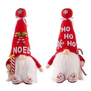 Christmas Gnome Decoration Santa Plush Figures with Light Faceless Doll Ornaments 2PCS (No Battery)