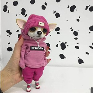 Cute Fashionable Animal Resin Doll, Imitation Dog Ornaments Resin Handicraft Ornaments,Creative Home Toys, Creative Gifts for Dog Lovers (B)