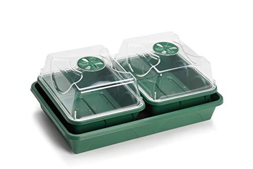 EarlyGrow Propagateur à 2 baies résistant aux éclats avec tapis capillaire et plateau (auto-arrosage) Vert 38 x 24 x 14 cm