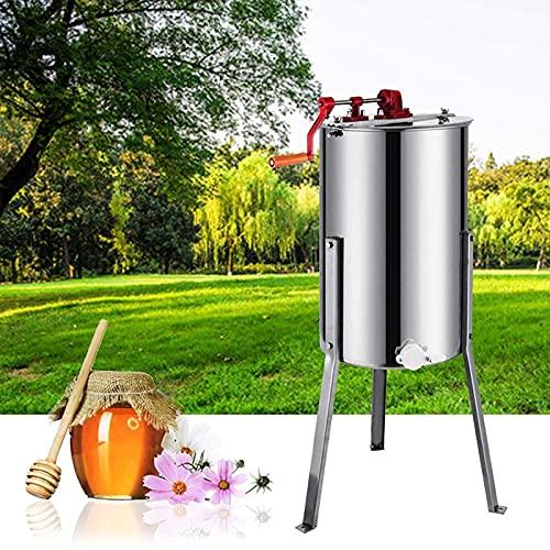 Extracteur de miel manuel 3 Cadre Equipement d'apiculture en acier inoxydable Spinner à miel avec support d'apiculture