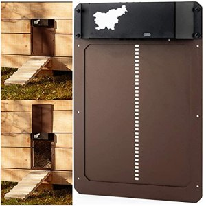 gregrr Automatic Chicken Coop Door with Light Sensing, Battery Operated Chicken Coop Door, Waterproof Chicken Coop Door, Evening and Morning Delayed Opening Timer, Auto Door Opener Kit
