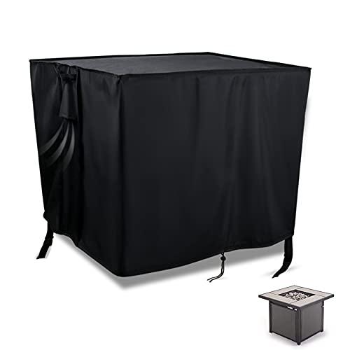 Hengme Housse de protection carrée pour brasero – Tissu Oxford 420D avec cordon de serrage réglable – Housse de table pour brasero de jardin, terrasse, noir (80 x 80 x 32 cm)