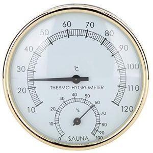 HERCHR Thermomètre d'ambiance hygromètre thermomètre de Sauna Double pointeur fixé au Mur pour Salle de Bains de Sauna