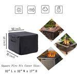Hohong Bâche carrée pour brasero à gaz 84 x 84 x 44 cm – Imperméable et résistante aux UV de qualité supérieure pour brasero à gaz