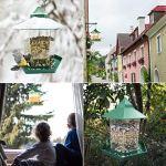 Hongyans Mangeoire à Oiseaux Exterieur Mangeoire Oiseaux Suspendue Grande Capacité Distributeur Graines Oiseaux Maison Oiseaux Exterieur pour Jardin Balcon (Vert)