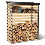 IDMarket – Abri de Stockage en Bois pour bûches Toit incliné et étagère