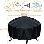 LEESITEC Couverture ronde pour brasero – Haute performance – 210D – Anti-UV – Étanche au vent et à la poussière – 80 cm x 50 cm