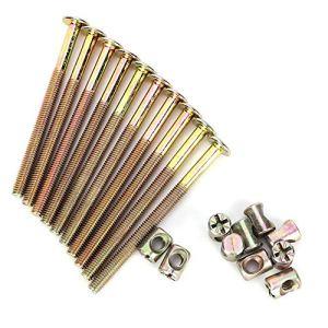 Lot de 10 boulons M6 pour meubles en acier carbone galvanisé avec écrous et chevilles 40 mm/60 mm/80 mm/90 mm/100 mm, TRTA000724