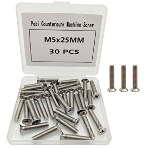 Lot de 30 vis à tête fraisée M5 en acier inoxydable 5 x 25 mm