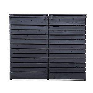 Lukadria Cache-poubelle en bois pré-imprégné – Anthracite – 120 l – 240 l – Avec paroi arrière Mod.HH (2 tonnes)