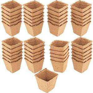 Meister Lot de 48 Pots de Culture 8 x 8 cm – 100 % sans Tourbe en Cellulose certifiée PEFC – Biodégradable / Pot de semences / Culture de Plantes / 9968280