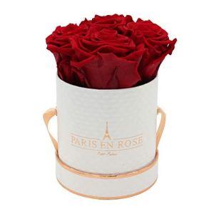 PARIS EN ROSE boîte de Roses Petit Palais Delux   Blanche-Noir Delux flowerbox avec des Roses Infinity Bordeaux   Boîte à Fleurs avec 4 Fleurs conservées